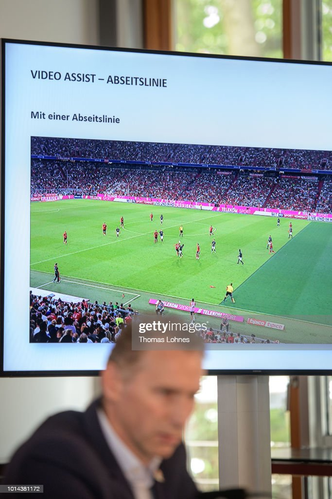 A screen shot with the 'Video Assistant offside line' is seen during the media during a press conference of Deutscher Fussball-Bund (DFB) on August 10, 2018 in Frankfurt am Main, Germany.
