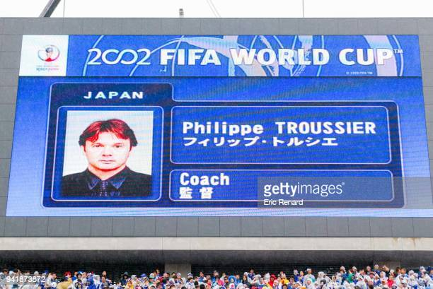 Screen showing head coach of Japan Philippe Troussier during the world cup match between Japan and Turkey at Miyagi Stadium in Rifu Japan on june...