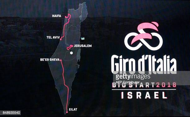 A screen showing the first three stages of next year's Giro d'Italia which will be host in Jerusalem and Israel is seen during a press conference in...