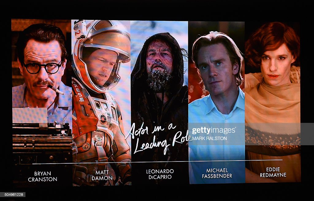 A Screen Showing The Oscar Nominees For Best Actor Is Announced By Actor John Krasinski And