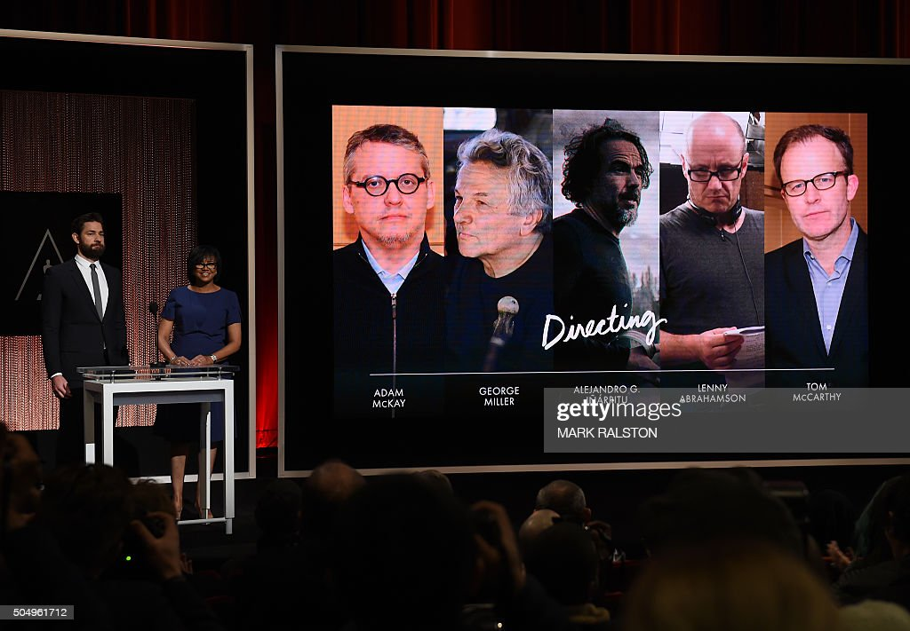 A Screen Showing The Oscar Nominees For Best Director Is Announced By Actor John Krasinski And