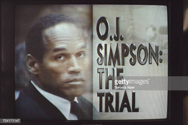 A TV screen showing the televised trial of OJ Simpson for murder September 1995