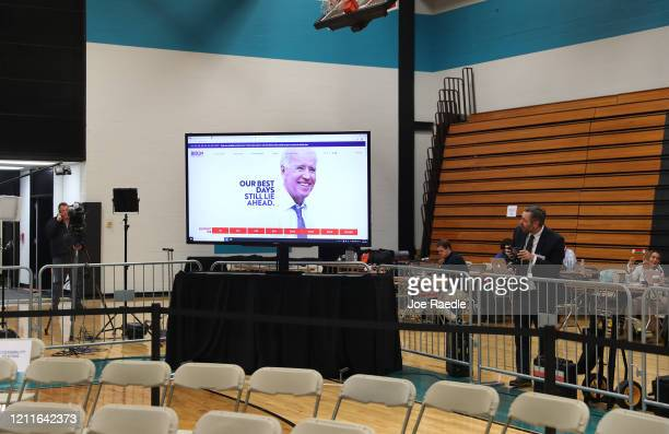 A screen shows Democratic presidential candidate former Vice President Joe Biden after his primary night rally at the Cuyahoga Community College...