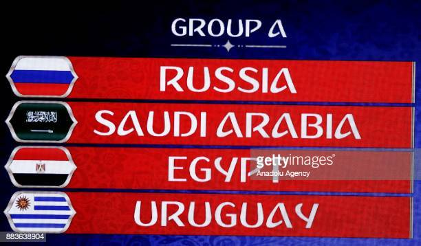 A screen shows the Group A result of the draw of FIFA World Cup 2018 during the Final Draw of the FIFA World Cup 2018 at the State Kremlin Palace in...