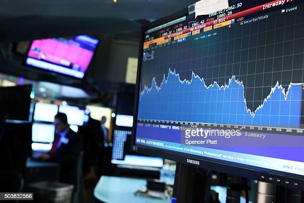 A screen shows the market movements as traders work on the floor of the New York Stock Exchange on January 7 2016 in New York City Chinese stocks...