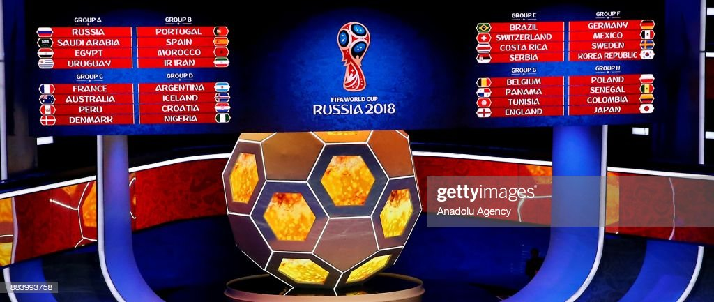 A screen shows the result of the draw of 2018 FIFA World Cup Russia Final Draw in the State Kremlin Palace in Moscow, Russia on December 01,2017.