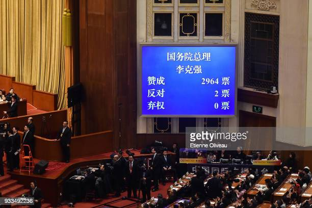 A screen shows the result of the reelection of Chinese Premier Ki Keqiang for a second term during the sixth plenary session of the National People's...