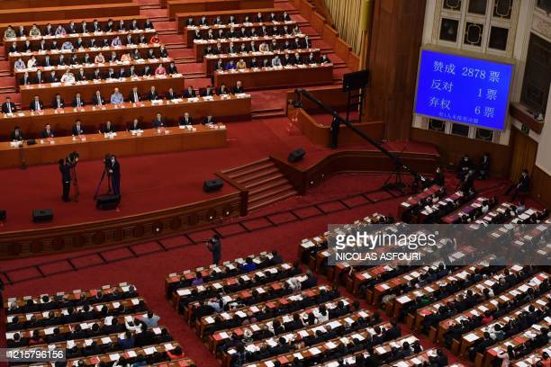 Screen shows the result of the vote on a proposal to draft a security law on Hong Kong during the closing session of the National People's Congress...