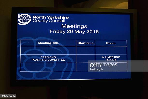 A screen shows the schedule ahead of a meeting in the County Hall building in Northallerton as the County council's Planning and Regulatory Committee...