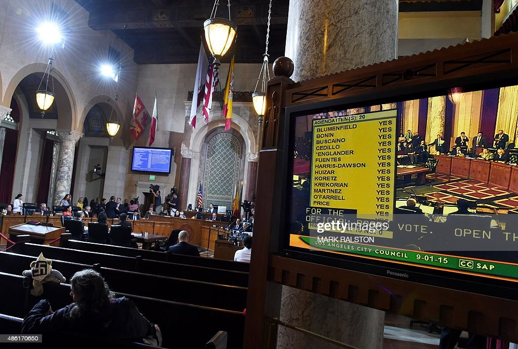 A screen shows the unanimous 'yes' vote after the Los Angeles City Council voted to bid for the 2024 Summer Olympics, at City Hall in Los Angeles, California on September 1, 2015. Los Angeles leaders on Tuesday gave unanimous backing to the city's bid for the 2024 Olympics, paving the way for it to enter the race for the Games. The Los Angeles City Council voted 15-0 in favor of a 'joinder agreement' designed to demonstrate to the United States Olympic Committee (USOC) that the city was committed to staging the Games.' The USOC is expected to forward Los Angeles -- who have hosted the Games on two previous occasions in 1932 and 1984 -- as a candidate for the 2024 race imminently.