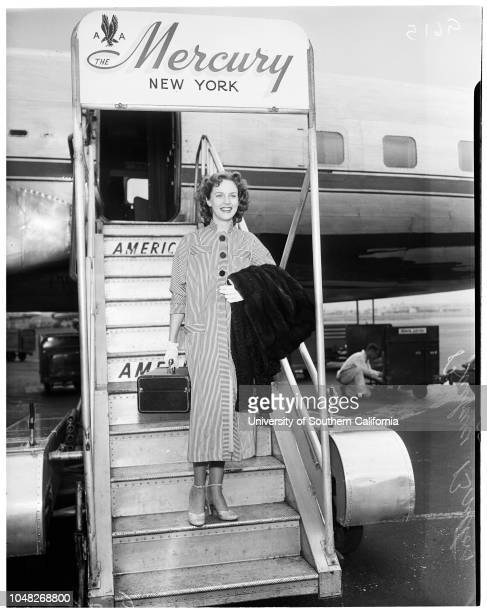 Screen star here from New York June 24 1952 Barbara Britton actressHandoutSupplementary material reads 'From Moore Dreyfus Delynn 8758 Sunset...