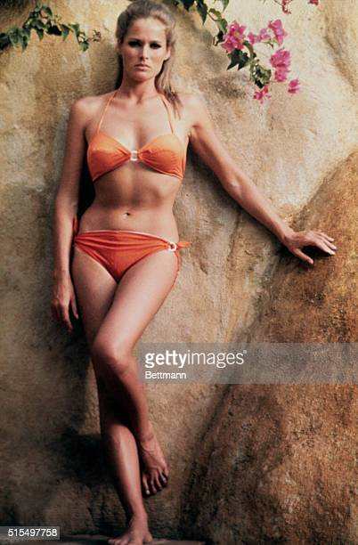 Screen star Ursula Andress in twopiece bathing suit