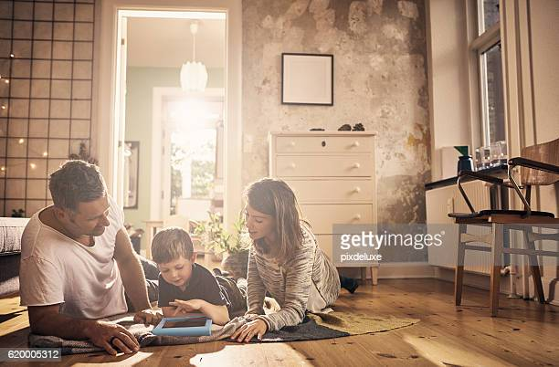 screen time as a family - family home stock photos and pictures