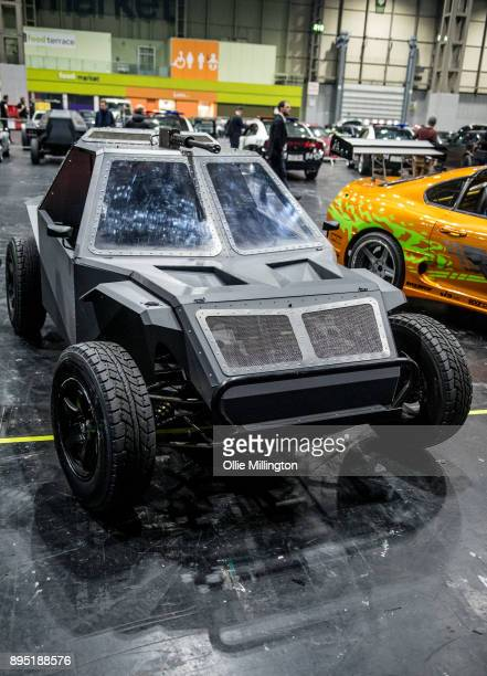 A screen used Deckard Shaw Fast Attack Buggy from The Fate of The Furious seen during the 'Fast Furious Live' technical rehearsal at NEC Arena on...