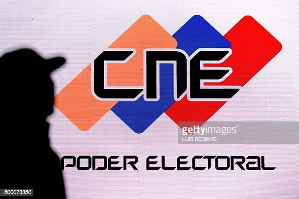 A screen with the logo of the National Electoral Council in the media room at the CNE headquarters in Caracas on December 5 2015 For the first time...