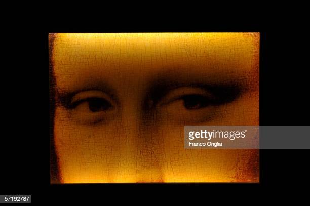 A screening of the Mona Lisa's eyes by Leonardo is shown on display at the Leonardo Da Vinci exhibition vernissage at the Uffizi Gallery on March 27...