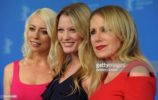 Screenplay writer and actress Lorelei Lee US actress and model Ashley Hinshaw and producer and actress Elana Krausz pose during a photocall for the...
