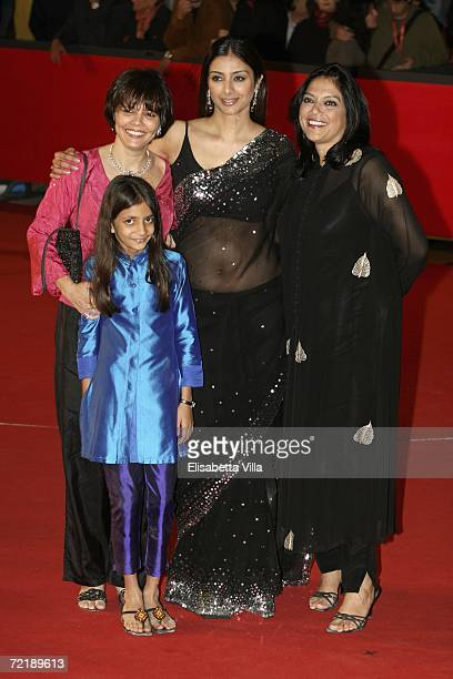Screenplayer Sooni Taraporevala with Ivanah Bativala actress Tabu and director Mira Nair attend the premiere of the movie The Namesake on the fourth...