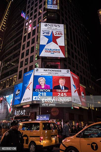 Screens in Times Square shows the last results of the presidential election in New York on November 8 2016