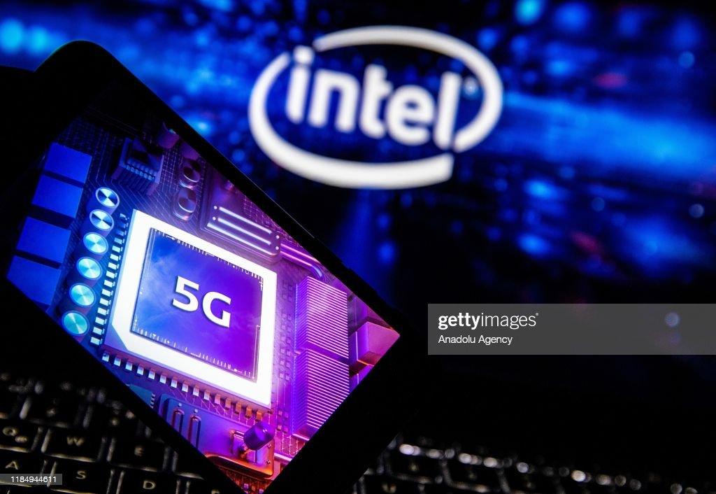 Logos of Intel, Mediatek and 5G technology : News Photo