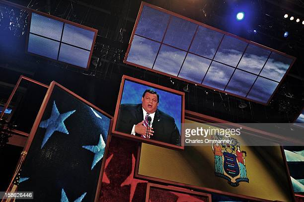 Screens show images during the Republican National Convention at the Tampa Bay Times Forum on August 30 2012 in Tampa Florida Today is the third and...