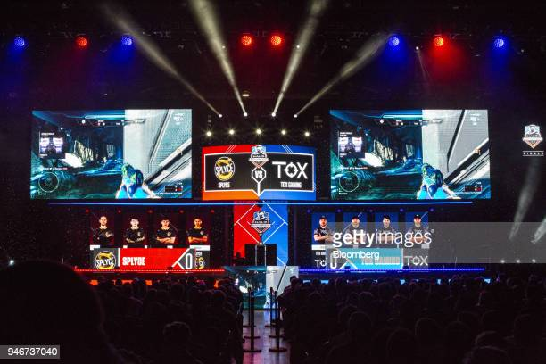 Screens showing game action are displayed on stage during the grand final game between teams Tox and Splyce at the Halo World Championship finals in...