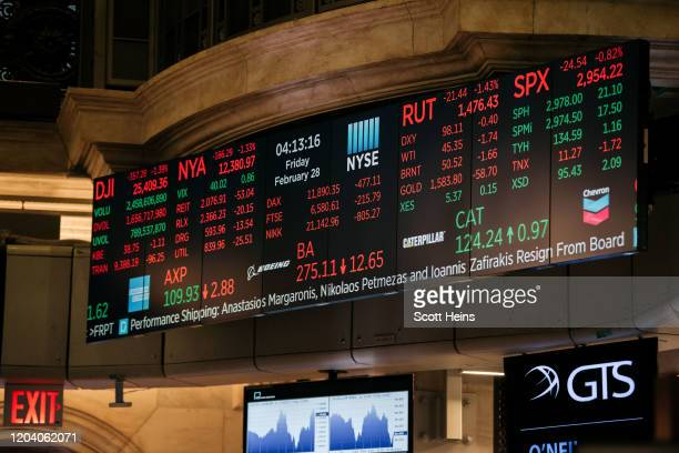 Screens tracking share prices are filled with red at the New york Stock Exchange on February 28 2020 in New York City Markets continued their...