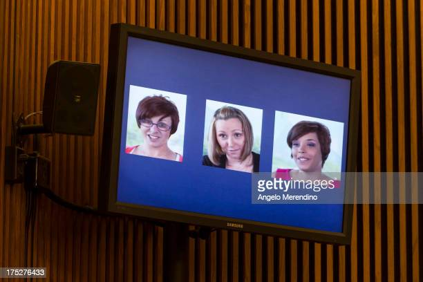 A screenshot from a video released by the three victims of Ariel Castro Michelle Knight Amanda Berry and Gina DeJesus is displayed during Castro's...