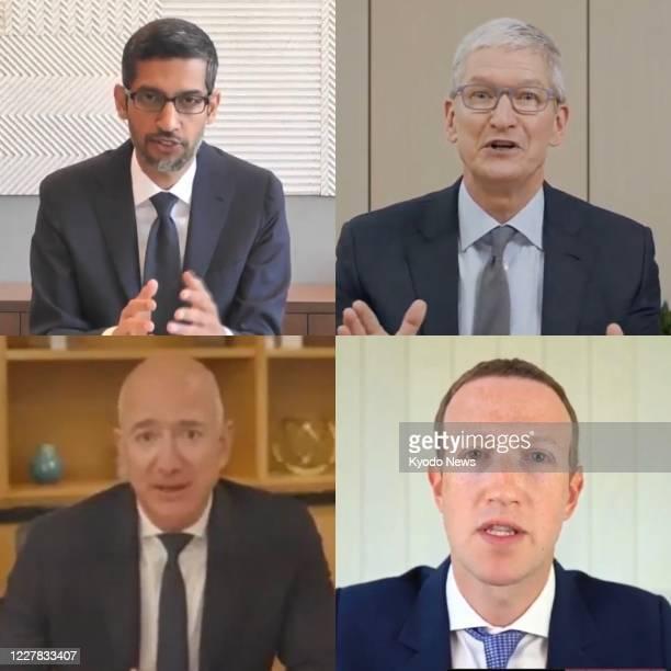 Screenshot image shows CEOs Sundar Pichai of Google LLC, Tim Cook of Apple Inc., Mark Zuckerberg of Facebook Inc. And Jeff Bezos of Amazon.com Inc....
