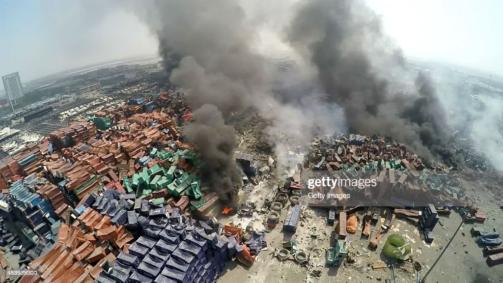 A screenshot of a video showing the aftermath of the Tianjin's warehouse explosion site on August 13, 2015 in Tianjin, China. The death toll from Wednesday warehouse explosions in Tianjin rose to 50 Thursday evening, 17 of whom were firemen, local authorities said.