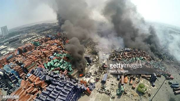 A screenshot of a video showing the aftermath of the Tianjin's warehouse explosion site on August 13 2015 in Tianjin China The death toll from...