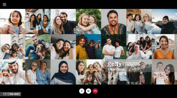 screenshot of a videoconference with many people connecting together - pandemic illness stock pictures, royalty-free photos & images