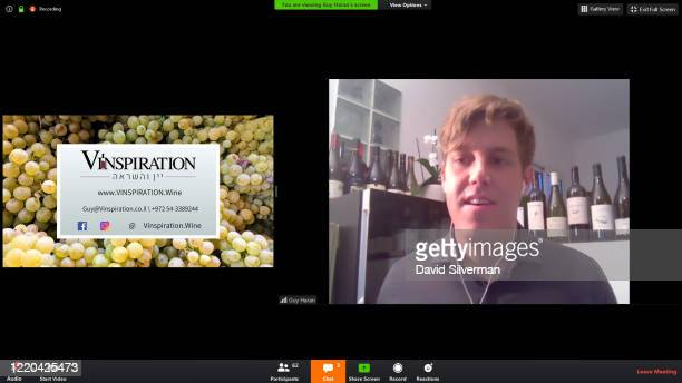 A screenshot of an online presentation about the Israeli wine industry given by leading Israeli wine tourism specialist Guy Haran using the Zoom...