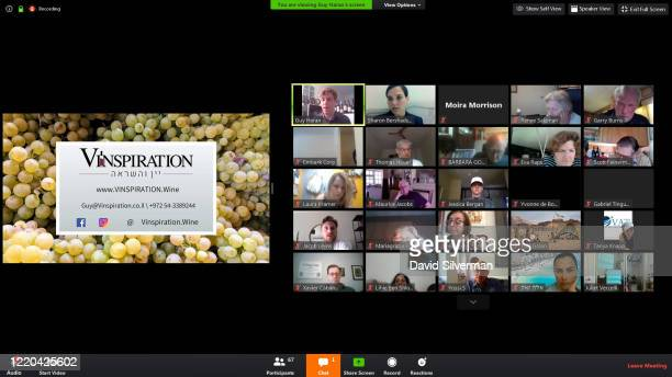 Screenshot of an online presentation about the Israeli wine industry given by leading Israeli wine tourism specialist Guy Haran using the Zoom Video...