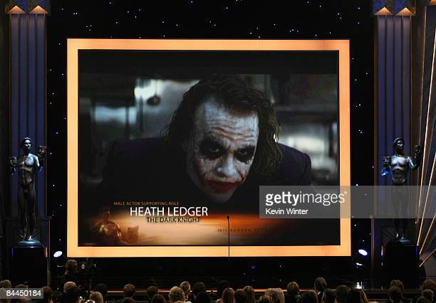 A screenshot of nominee actor Heath Ledger for the Male Actor in a Supporting Role award during the 15th Annual Screen Actors Guild Awards held at...