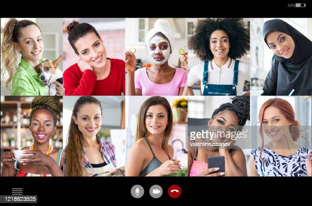 screenshot of video chat of stay at home friends, during isolation in time of covid-19 - video still stock pictures, royalty-free photos & images