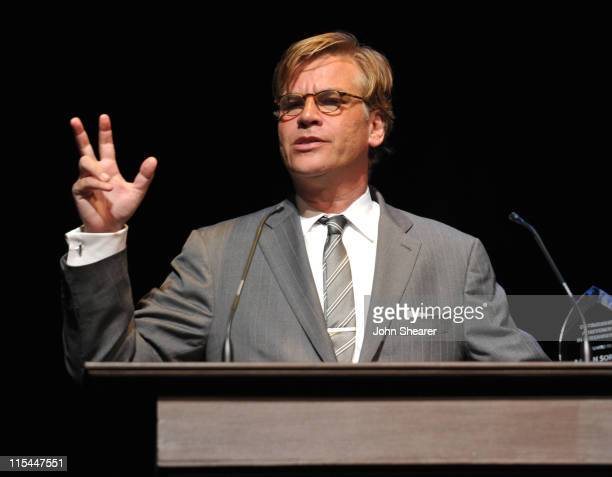 Screenwriter Aaron Sorkin accepts the 'Distinguished Achievement in Screenwriting' award at the Screenwriters Showcase during the 2011 UCLA Festival...