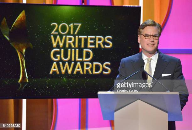 Screenwriter Aaron Sorkin accepts the Paddy Chayefsky Laurel Award for Television Writing Achievement onstage during the 2017 Writers Guild Awards LA...