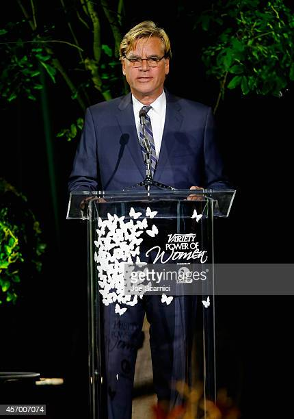 Screenwriter Aaron Sorkin speaks onstage at 2014 Variety Power of Women presented by Lifetime at Beverly Wilshire Four Seasons on October 10 2014 in...
