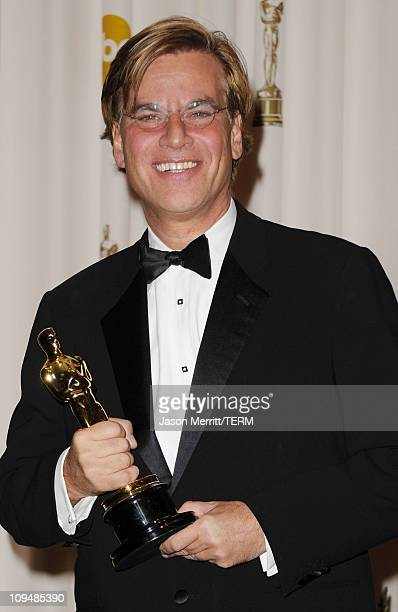 Screenwriter Aaron Sorkin winner of the award for Best Adapted Screenplay for 'The Social Network' poses in the press room during the 83rd Annual...