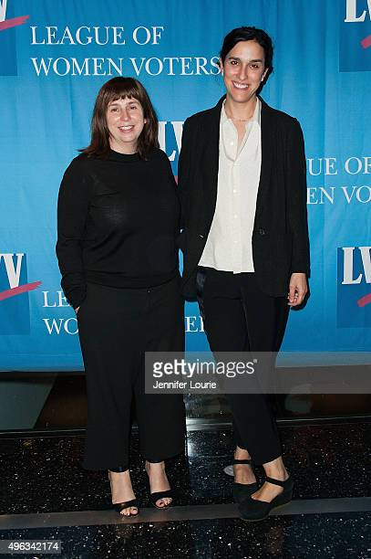 Screenwriter Abi Morgan and director Sarah Gavron attend the League of Women Voters of Los Angeles Celebrates 95 Years of Right To Vote at the...