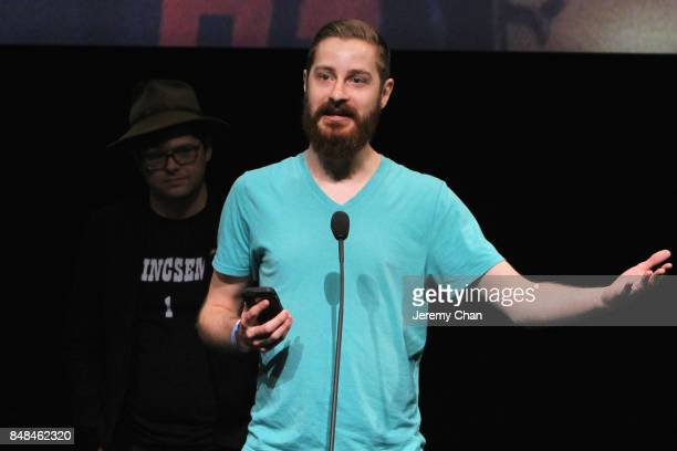 Screenwriter Alex Larsen accepts the Midnight Madness Grolsch People's Choice Award for 'Bodied' on behalf of director Joseph Kahn at the 2017 TIFF...
