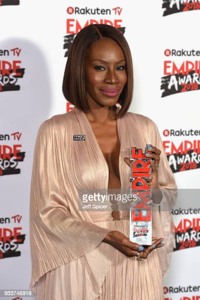 Screenwriter Amma Asante winner of the EMPIRE Inspiration award poses in the winners room at the Rakuten TV EMPIRE Awards 2018 at The Roundhouse on...