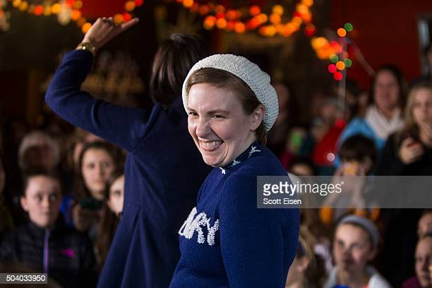 Screenwriter and actress Lena Dunham speaks to a crowd at a Hillary Clinton for President event on January 8 2016 in Manchester New Hampshire Dunham...