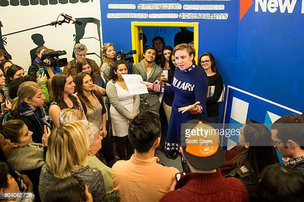 Screenwriter and actress Lena Dunham speaks to a crowd at a Hillary Clinton campaign office on January 8 2016 in Manchester New Hampshire Dunham...