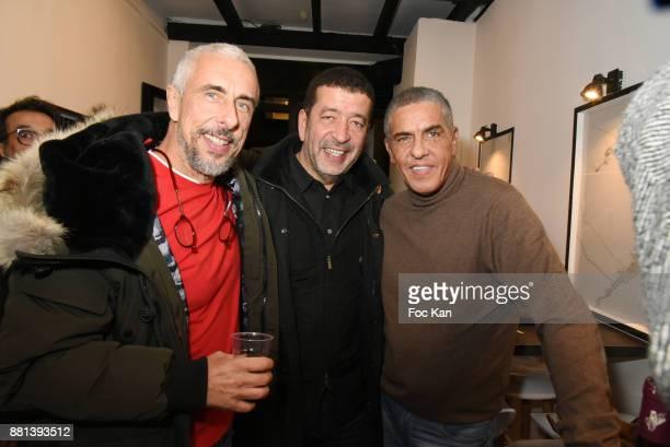 Screenwriter Bibi Naceri actors Slimane Dazi and Samy Naceri attend 'Bagel N Fries' Restaurant Opening Party on November 28 2017 in Paris France