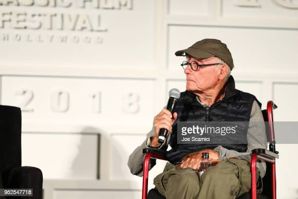 Screenwriter Buck Henry speaks onstage at the screening of 'Heaven Can Wait' during day 3 of the 2018 TCM Classic Film Festival on April 28 2018 in...