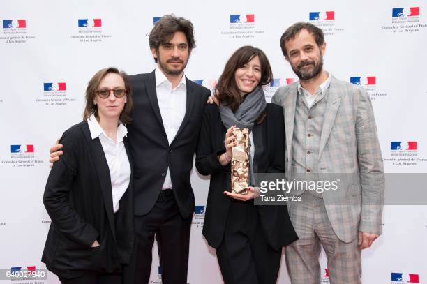 Screenwriter Celine Sciamma producers Max Karli and Pauline Gygax and director Claude Barras of the animated feature film 'My Life as a Zucchini'...