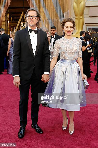 Screenwriter Charles Randolph and actress Mili Avital attend the 88th Annual Academy Awards at Hollywood Highland Center on February 28 2016 in...