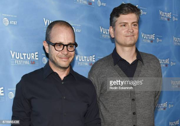 Screenwriter Damon Lindelof and producer Michael Schur attend the Scandal Final Season Panel at Vulture Festival Los Angeles at Hollywood Roosevelt...
